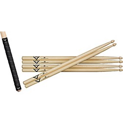 Vater Buy 3 Pairs of Hickory Sticks, Get a Free Pair of Sticks and Free Grip Tape (VSP5BWGT)
