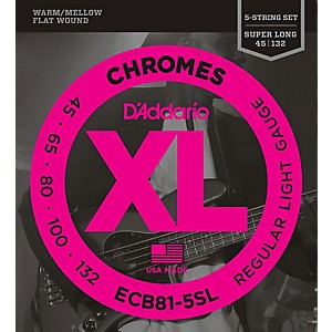 D-Addario-ECB81-5SL-Chromes-Flat-Wound-5-String-Bass-Soft-SL-Strings-Standard