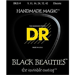 DR-Strings-Extra-Life-BKE-9-Black-Beauties-Lite-Coated-Electric-Guitar-Strings-Standard