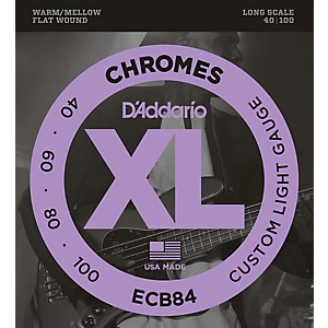 D-Addario-ECB84-Chromes-Flat-Wound-Custom-Light-Long-Scale-Electric-Bass-Strings-Standard
