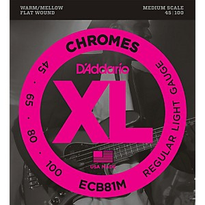 D-Addario-ECB81M-Chromes-Flat-Wound-Electric-Bass-Strings-Light-Medium-Scale-Standard