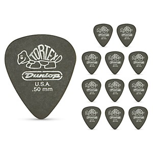 Dunlop-Tortex-Pitch-Black-Standard-Guitar-Picks-1-Dozen--50Mm