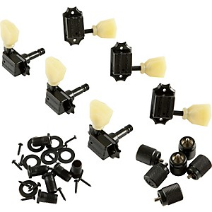 Kluson-KB3L-Keystone-Locking-Guitar-Tuning-Machines---3-Per-Side-Bolt-Bushing-Black