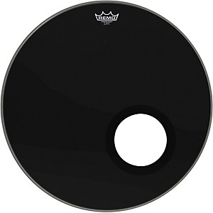 Remo-Ebony-Powerstroke-3-Resonant-Bass-Drum-Head-with-5-Inch-Port-Hole-Ebony-22-Inch