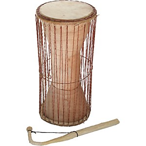 Overseas-Connection-Ghana-Talking-Drum-with-Stick-Natural-19x8-Inch
