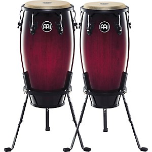 Meinl-Headliner-Series-11-and-12-Inch-Wood-conga-set-with-Basket-Stands-Wine-Red-Burst
