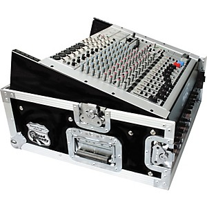 Road-Runner-10U-Slant-Mixer-Rack--2U-Vertical-Rack-Black