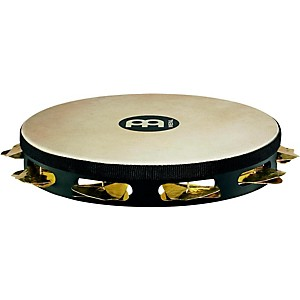 Meinl-Super-Dry-Studio-Goat-Skin-Wood-Tambourine-One-Row-Brass-Jingles-Black