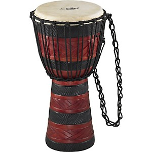 Schalloch-Djembe-BLACK-RED-CARVING-Medium