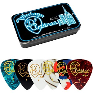 D-Andrea-351-Vintage-Classic-Celluloid-Picks---Assorted-Colors---1-Dozen-in-Tin-Container-Thin