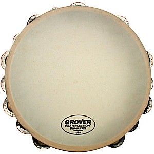 Grover-Pro-Synthetic-Head-Tambourine-10-inch-Double-Row-German-Silver-Jingles