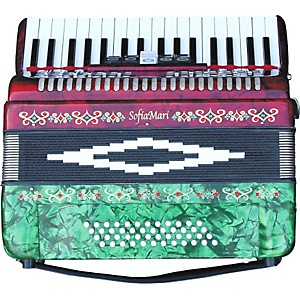 SofiaMari-SM-3448-34-Piano-48-Bass-Accordion-Red---Green-Pearl