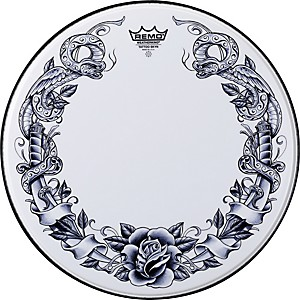 Remo-Powerstroke-Tattoo-Skyn-Bass-Drumhead--White-22-inch-Dragonrose