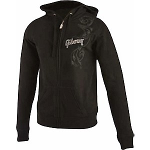 Gibson-Logo-Women-s-Zip-up-Hoodie-Black-Large