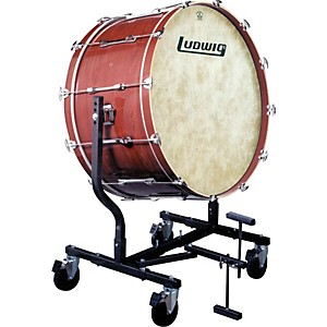 Ludwig-Concert-Bass-Drum-w--Fiberskyn-Heads---LE787-Stand-Cherry-Stain-16x32