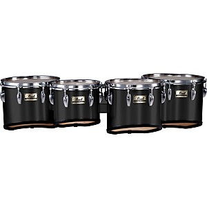 Pearl-Championship-Marching-Tom-Set-with-R-Ring--46-Midnight-Black-10-12-13-14-set