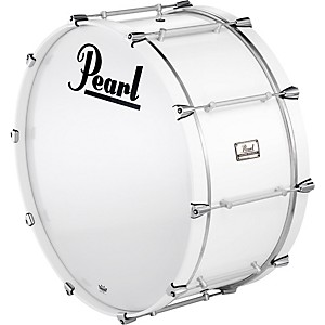 Pearl-Pipe-Band-Bass-Drum-with-Tube-Lugs--109-Artic-White-26x12