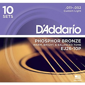 D-Addario-EJ2610-P-10-Pack-Custom-Light-Acoustic-Guitar-Strings-Standard