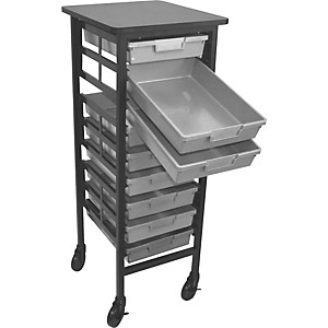 H--Wilson-Mobile-Workstation--Storage-Unit-with-9-Single-Storage-Trays-Light-Gray-Trays-44-5--H-1-tray-row