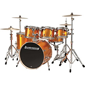 Ludwig-Element-5-Piece-Power-Shell-Pack-With-Free-10x8-Tom-Orange