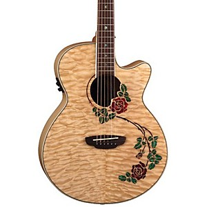 Luna-Guitars-Flora-Rose-Folk-Acoustic-Electric-Guitar-Quilted-Maple-with-Clear-Finish
