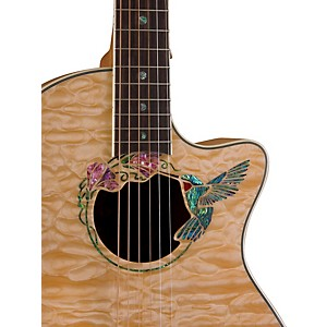 Luna-Guitars-Fauna-Hummingbird-Parlor-Acoustic-Electric-Guitar-Quilted-Maple-with-Clear-Finish