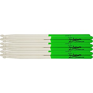 Zildjian-Maple-Green-DIP-Drumsticks-6-Pack-Super-7A-Wood-Tip