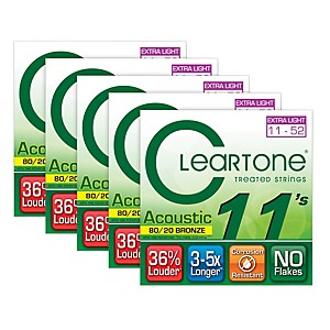Cleartone-80-20-Bronze-Coated-Acoustic-Guitar-Strings-Custom-Light--5-Pack--Standard
