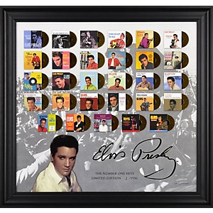 Mounted-Memories-Elvis-Presley--The-Number-One-Hits--Framed-Presentation-Standard