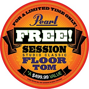 Pearl-Session-Studio-Classic-4-Piece-Shell-Pack-with-Free-16-Inch-Floor-Tom-Lacquer-Platinum-Mist-with-Chrome-Hardware
