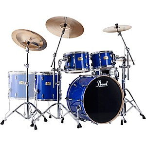 Pearl-Session-Studio-Classic-4-Piece-Shell-Pack-with-24--Kick-and-Free-14-Inch-Floor-Tom-Sheer-Blue-with-Chrome-Hardware