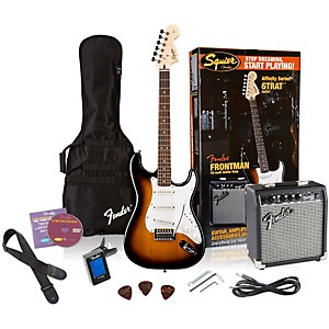 Squier-Affinity-Stratocaster-Electric-Guitar-Pack-w--10G-Amplifier-Brown-Sunburst