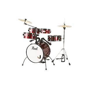 Pearl-Rhythm-Traveler-Drum-Set-with-Cymbals---Hardware-Red-Wine