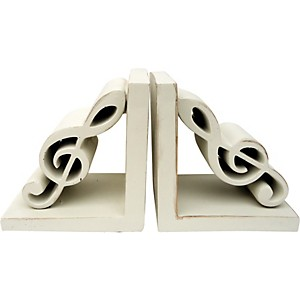AIM-Treble-Clef-Bookends--Antique-White--Standard