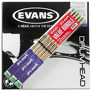Pro-Mark-6-Pair-American-Hickory-Drumsticks-with-B14G1-14--Evans-Coated-Drumhead-Wood-Tip-5A