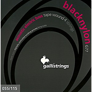 Galli-Strings-G77-BLACK-NYLON-TAPE-WOUND-Acoustic-Bass-Strings-55-115-Standard