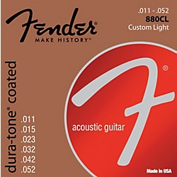 fender 880CL Coated 80/20 Bronze Acoustic Guitar Strings - Custom Light (0730880003)