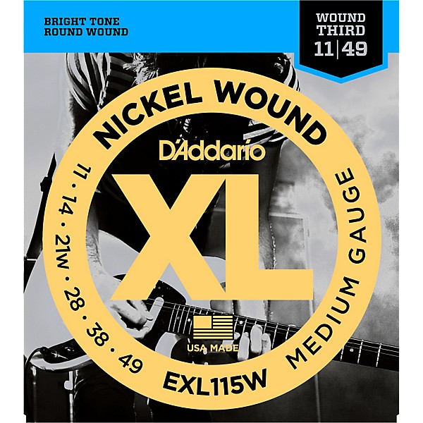 d 39 addario exl115w nickel blues jazz wound 3rd electric guitar strings music arts. Black Bedroom Furniture Sets. Home Design Ideas