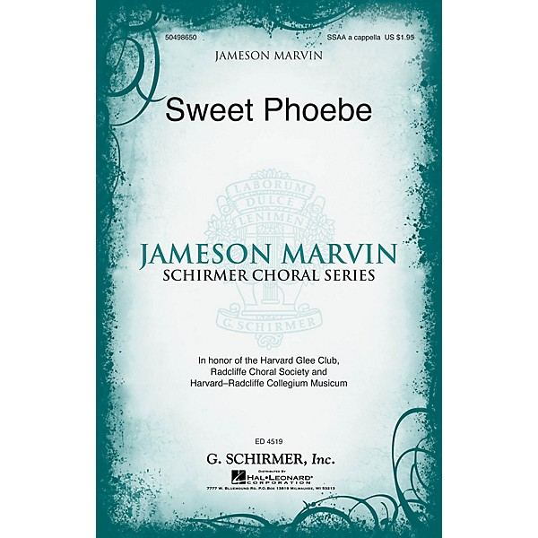 G  Schirmer Sweet Phoebe (Jameson Marvin Choral Series) SSAA A CAPPELLA  arranged by Jameson Marvin