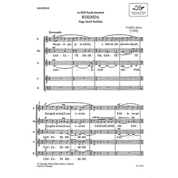 Editio Musica Budapest Kolinda Tb Composed By Jnos Vajda