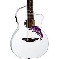 Luna Guitars Flora Orchid Select Spruce Parlor Acoustic-Electric Guitar Classic White